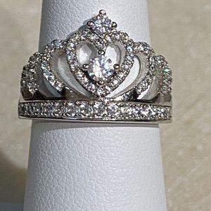 Women's Crown White Sapphire 925 Ring Sz6